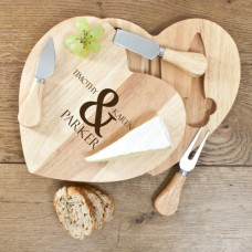 Personalised Heart Shaped Cheese Board Set