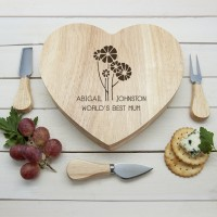 World's Best Mum with Daisy Flowers Heart Cheese Board