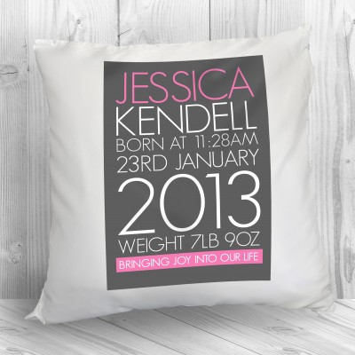 Personalised Newborn Baby Girl Cushion in Pink